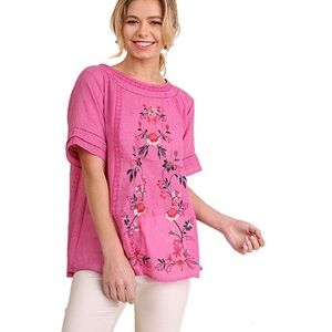 Umgee pink embroidered top